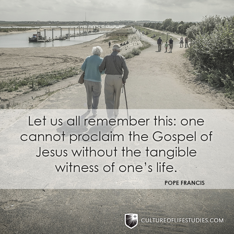 """""""Let us all remember this: one cannot proclaim the Gospel of Jesus without the tangible witness of one's life.""""—Pope Francis"""