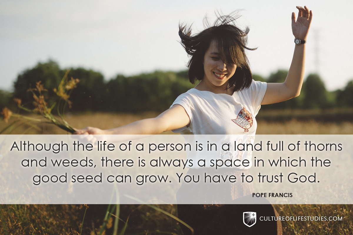 """""""Although the life of a person is in a land full of thorns and weeds, there is always a space in which the good seed can grow. You have to trust God.""""—Pope Francis"""