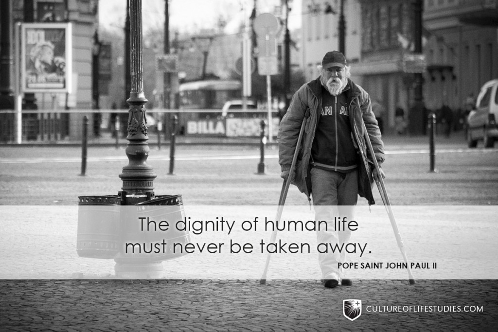 """The dignity of human life must never be taken away."" —Pope Saint John Paul II"